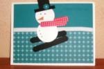 Punch Art-snowman on skis